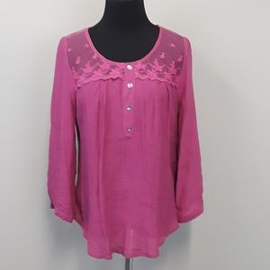 Mine Pink lace 3/4 sleeve blouse top size L